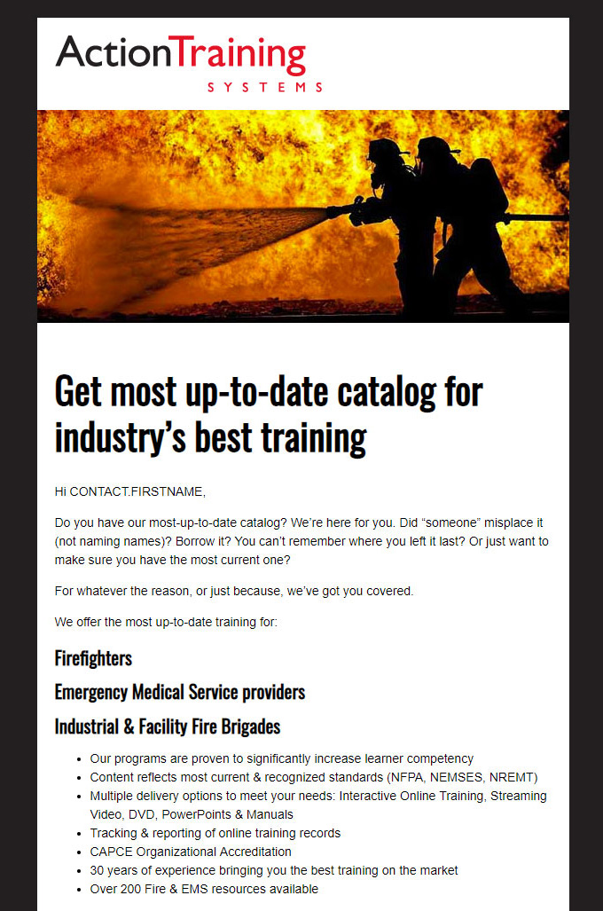 action training systems email templates brndventure